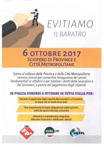 sciopero province e città metropolitane - 6 ottobre 2017